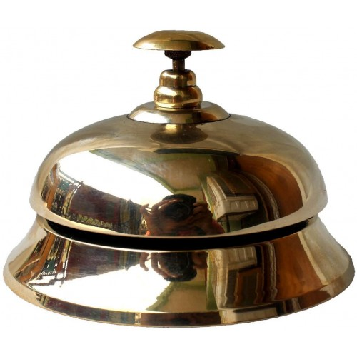 Handcrafted Solid Brass Hotel Counter Bell, Officer call bell Ornate Brass Hotel Counter Bell Desk Bell