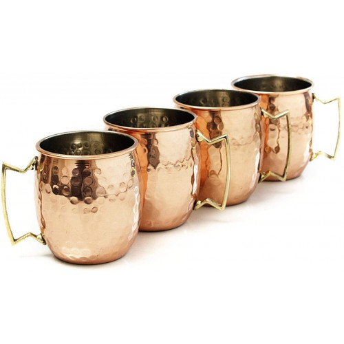 Handcrafted Hammered Moscow Mule Solid Copper Mug Cup 16 Ounce Set of 4