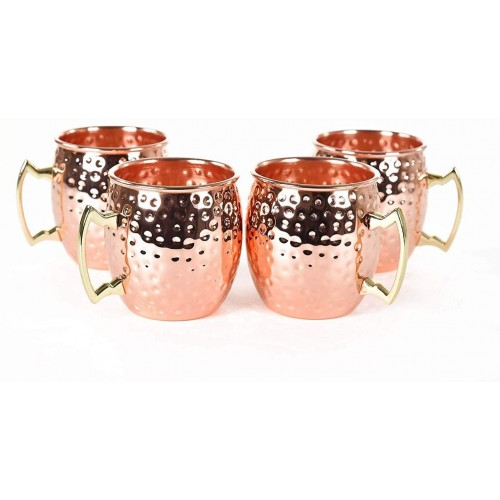 Hammered Copper Moscow Mule Mug with Brass Handle, 18oz
