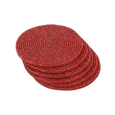 Handmade Indian Red Beaded Tea Coasters  4-Inch Placemats for Teacups - Set of 6 Cup Coasters