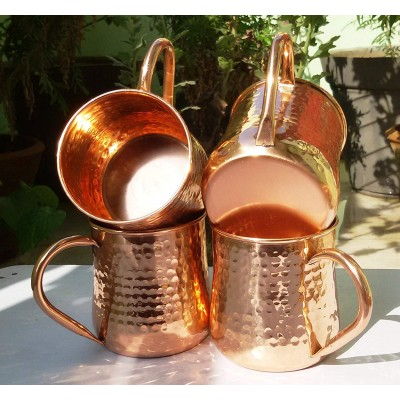 Old Fashion Barrel Copper Moscow Mule Mug Handmade Of 100% Pure Copper Hammered Moscow Mule Mug Cup 16 Oz. Set of-4 Hammered Pipe Handle Mug.