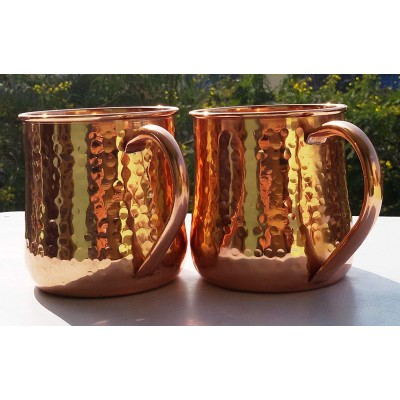 Old Fashion Barrel Copper Moscow Mule Mug Handmade Of 100% Pure Copper Hammered Moscow Mule Mug Cup 16 Oz. Set of-2 Hammered Pipe Handle Mug.