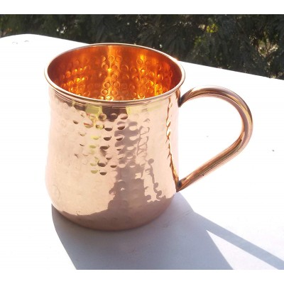 Old Fashion Barrel Copper Moscow Mule Mug Handmade Of 100% Pure Copper, Hammered Moscow Mule Mug  Cup 16 Oz. 1 Hammered Pipe Handle