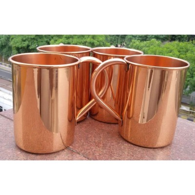 24oz-straight Solid Copper Plain Moscow Mule Mug, Handmade Pure Copper Moscow Mule Mug Set Of-4