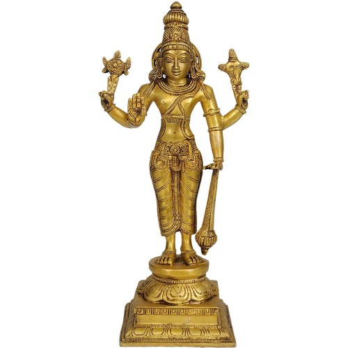Lord Vishnu - Brass Statue - Color Natur...