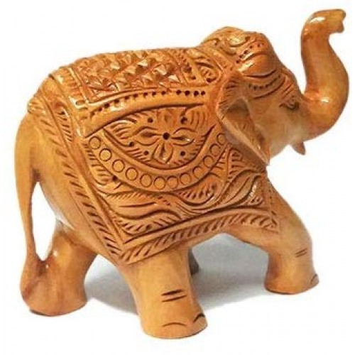 Handcrafted Wooden Painted Elephant Stat...