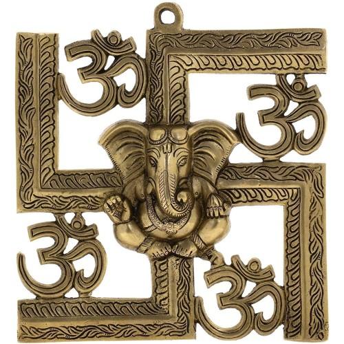 Brass Hindu Statue Ganesha Wall Decor Om...