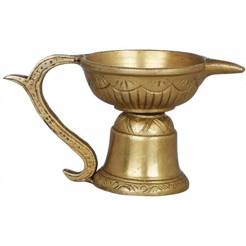 Handheld Aarti Diya Brass Statue