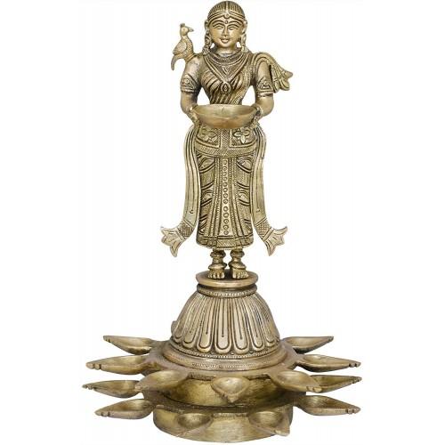 Nineteen Wicks Deepalakshmi on High Pedestal Brass Statue