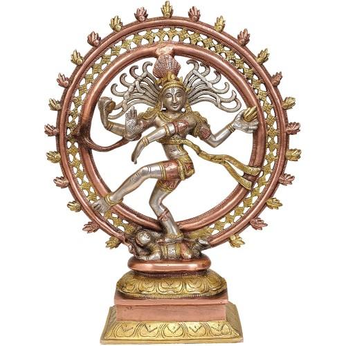 Nataraja Brass Statue Color Copper Silve...