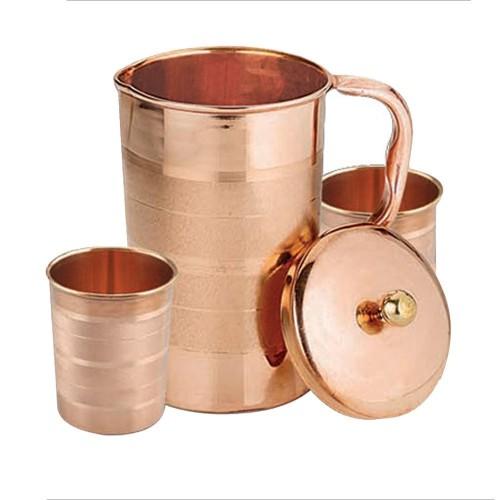 Ayurvedic Pure Copper Water Pitcher Jug Set 2 Water Glasses Cup Tumbler Jug Capacity 1750 ML Glass Capacity 200 ML Copper Luxury