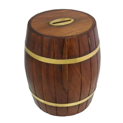 Wooden Barrel Safe Money Box Savings Banks Wood Carving Handmade By Artisan