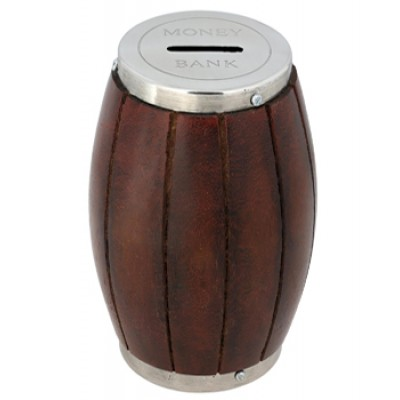 India Wooden Barrel Money Bank Indian Handcrafted Coin Box Piggy Money Bank With Metal Cap Big Size