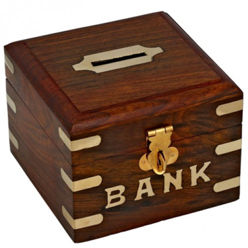 Safe Money Box Wooden Piggy Bank For Boys Girls And Adults