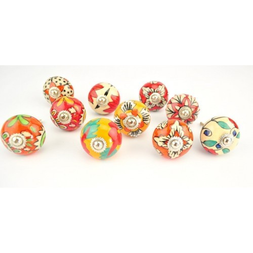 Set of 10 Red and Orange Ornate Ceramic ...