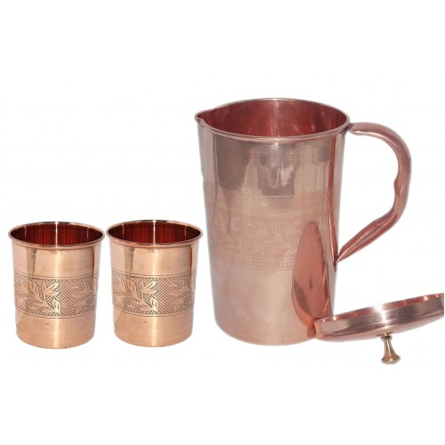Ayurvedic Pure Copper Water Pitcher Jug Set 2 Water Glasses Cup Tumbler Jug Capacity 1500 ML Glass Capacity 200 ML Copper Embossed