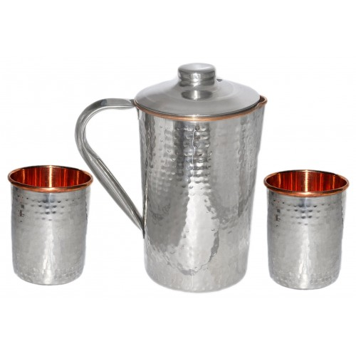 Ayurvedic Outside Steel Inside Copper Water Pitcher Jug Set 2 Water Glasses Cup Tumbler Jug Capacity 1750 ML Glass Capacity 200 ML Steel Copper Hammered
