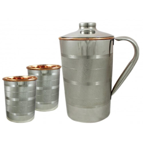 Ayurvedic Outside Steel Inside Copper Water Pitcher Jug Set 2 Water Glasses Cup Tumbler Jug Capacity 1750 ML Glass Capacity 200 ML Steel Copper Luxury