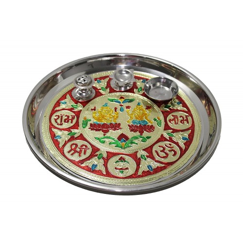 Stainless steel round pooja Thali with G...