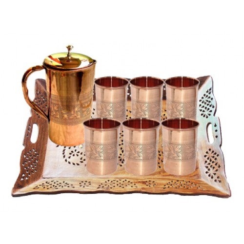 Serve-ware Set One Copper  Jug with 6 Gl...