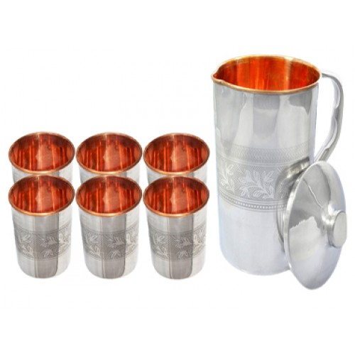Ayurvedic Outside Steel Inside Copper Water Pitcher Jug Set 6 Water Glasses Cup Tumbler One Jug Capacity 1750 ML Glass Capacity 200 ML Steel Copper Embossed