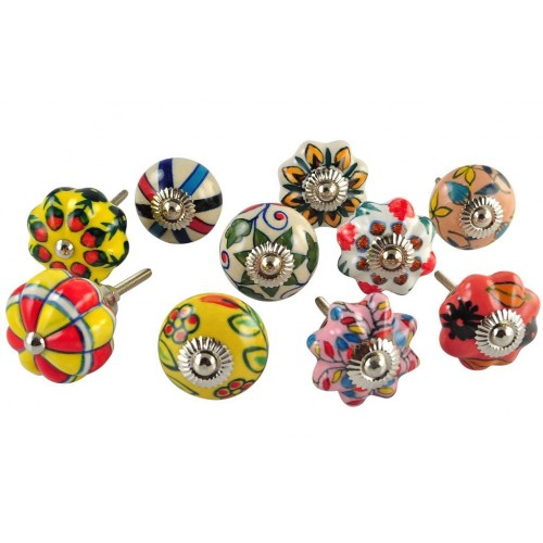 Set of 10 Multicolored Hand Painted Cera...