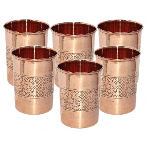Serve-ware Set One Copper  Jug with 6 Glass  and One Wooden Tray Set for Ayurvedic Healing