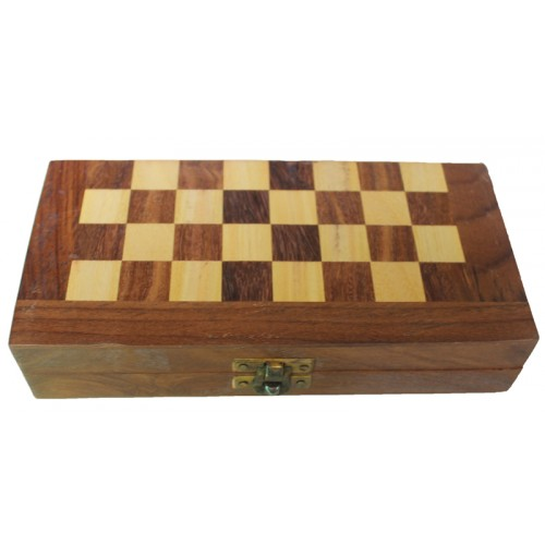 Collectible Folding Wooden Chess Game Board Set with Magnetic Crafted Pieces